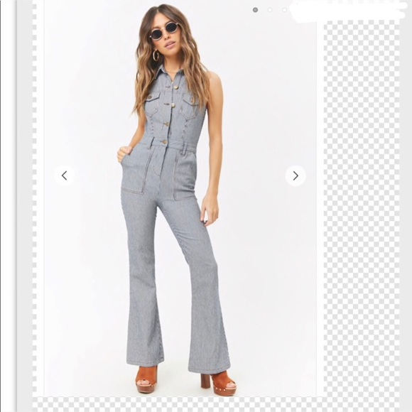 b287567d56b Forever 21 Striped Button Flared Jumpsuit Small